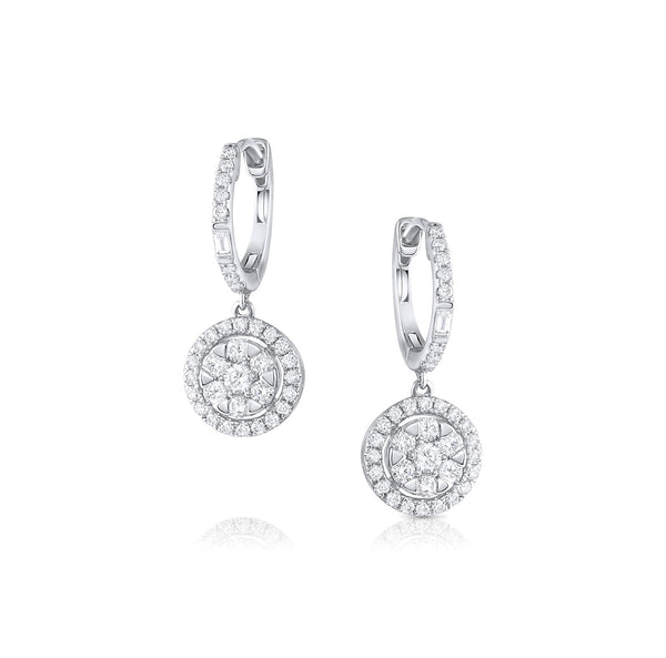 18k White Gold Round Cluster Diamond Earrings