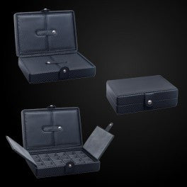 Cufflinks Storage Case for 48 pairs Woven Carbon Fiber Texture