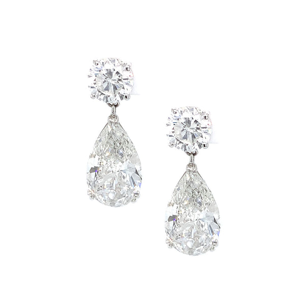 18kt White Gold Pear Diamond Drop Earrings, GIA Certified