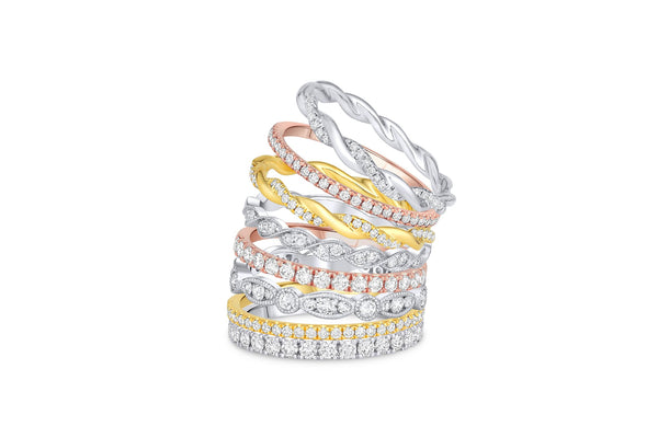 18KT White Gold Round & Marquise Motif Eternity Band