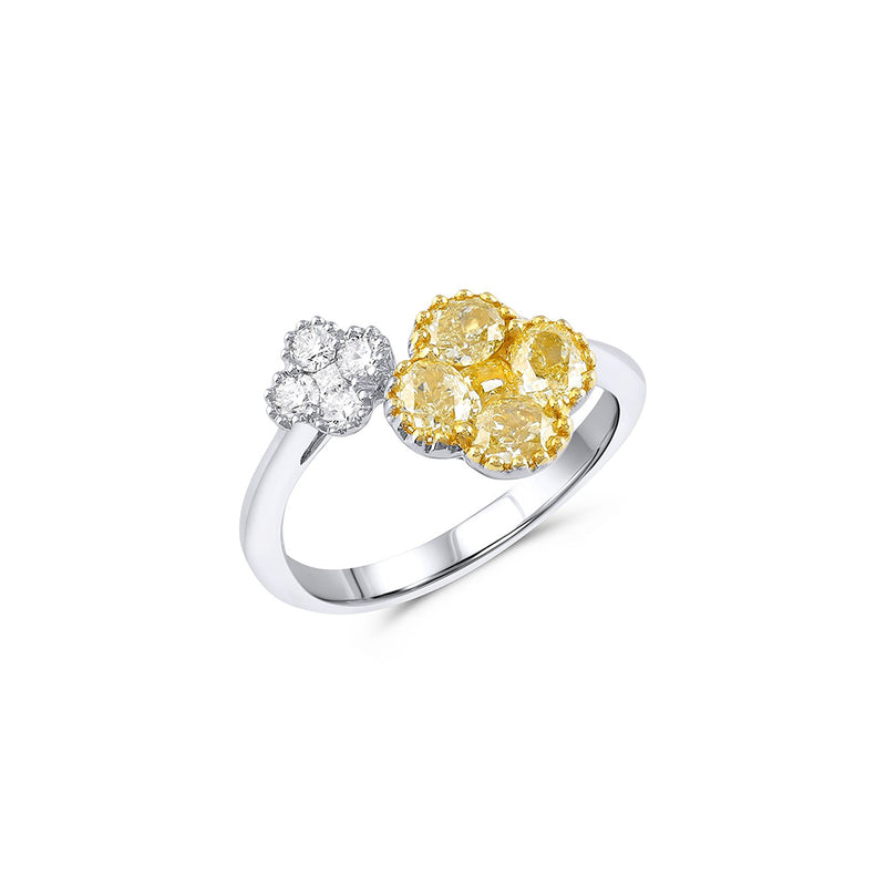 18KT WHITE AND YELLOW GOLD DOUBLE FLOWER RING