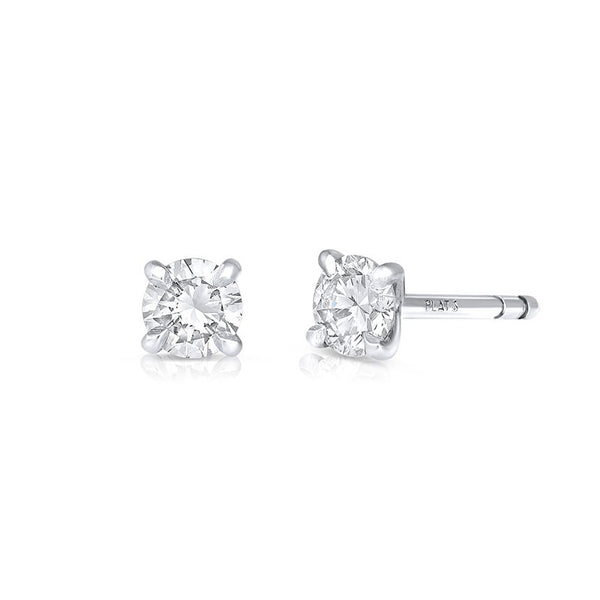 RIVIÈRE PLATINUM ROUND BRILLIANT CUT DIAMOND STUDS