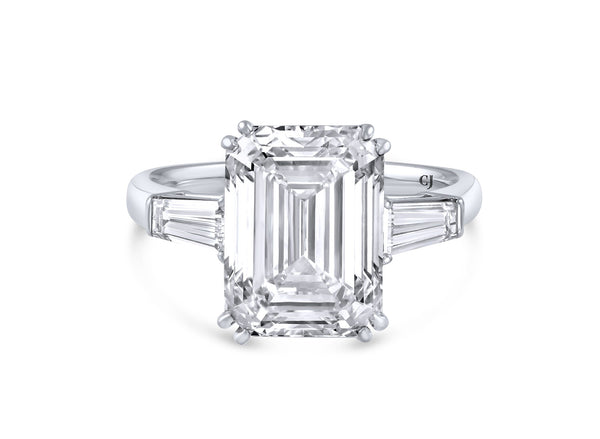 18kt White Gold Emerald Cut Diamond Ring, GIA Certified