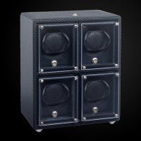 Evo Four Module Unit with Frames Watch Winder Woven Carbon Fiber Texture