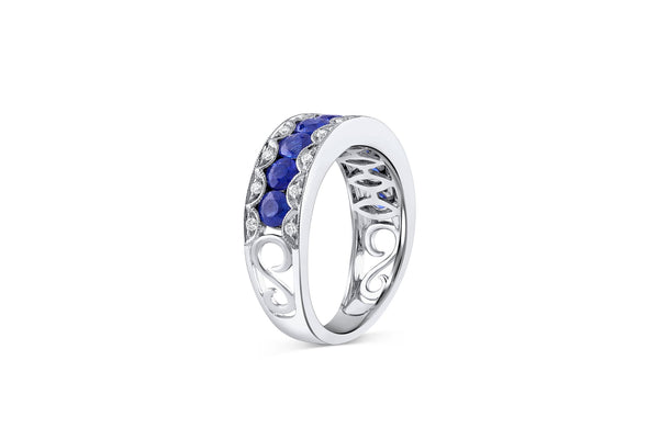 18KT WHITE GOLD DIAMOND AND SAPPHIRE HALFWAY BAND