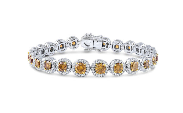 Natural Fancy Yellow and White Diamond Bracelet, GIA Certified