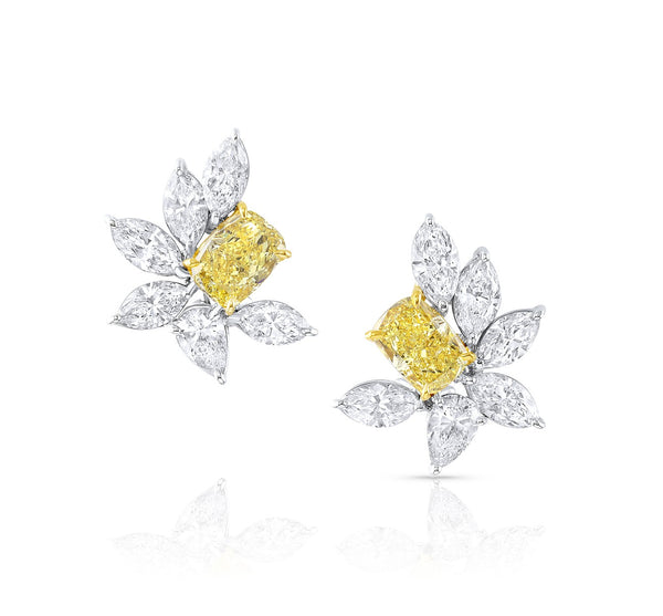Rivière 18k Yellow Gold and Platinum Fancy Vivid Yellow Cluster Earrings, GIA Certified