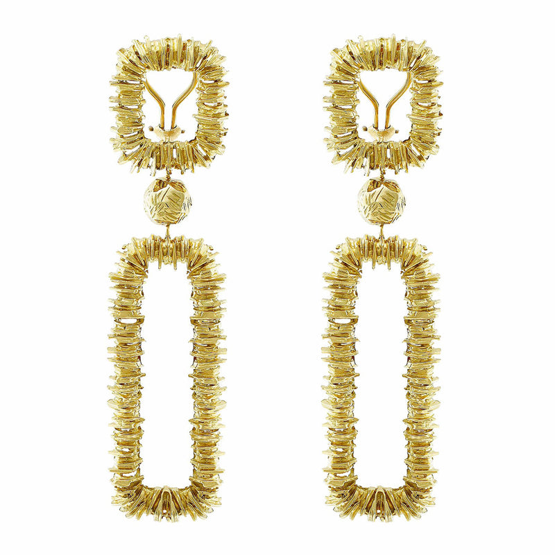 Estate Tiffany & Co. 18kt Yellow Gold Rectangular Chandelier Earrings
