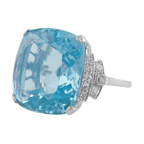 Estate 23ct Aquamarine Diamond Ring in 14k white gold