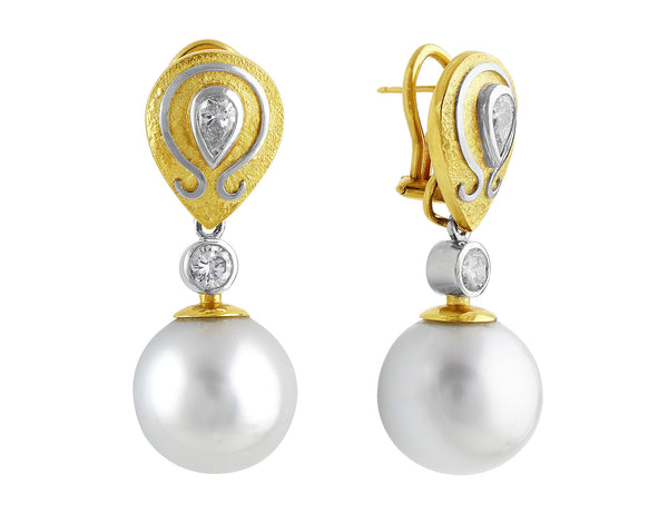 Estate South Sea Pearl Earrings with Art Setting