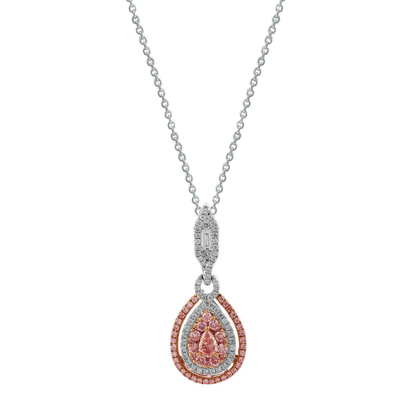 Pink Pear Shape Diamond Necklace