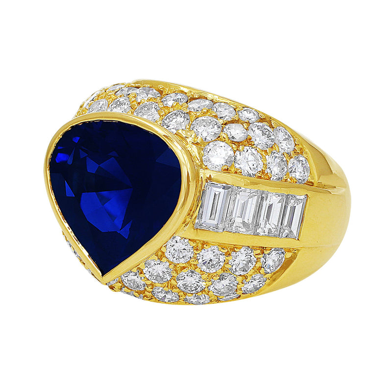 Estate 10.55ct Gubelin-certified Sapphire and Diamond Bulgari Ring