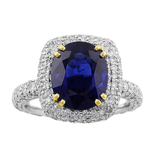 3ct Sapphire in a handmade platinum pave diamond ring