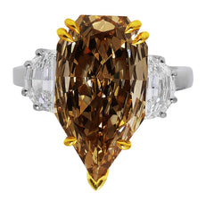 5ct Fancy Color Pear Diamond Ring, GIA-certified
