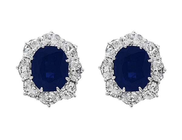 Estate Oval Sapphire Diamond Earrings