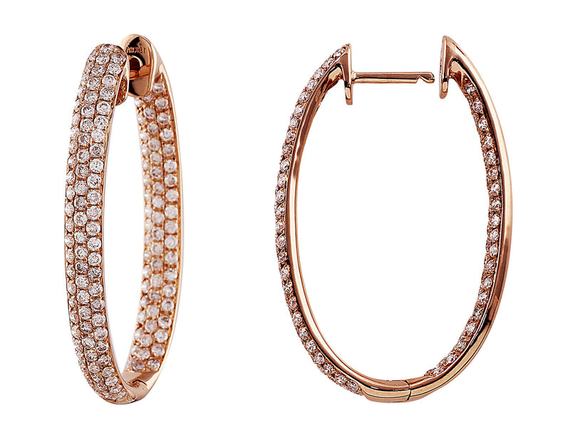 Rose Gold Hoop Diamond Earrings