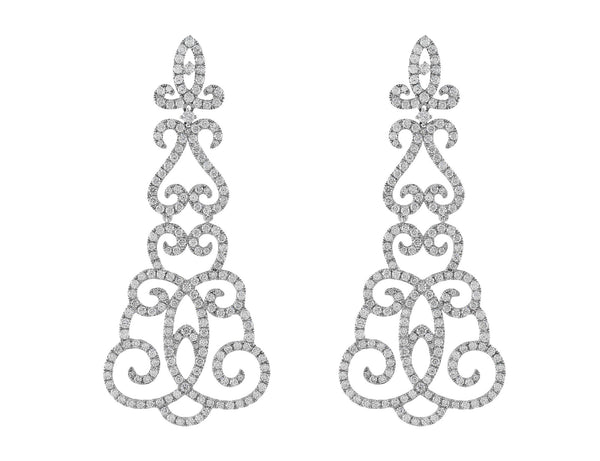 Diamond Arabesque Dangle Earrings