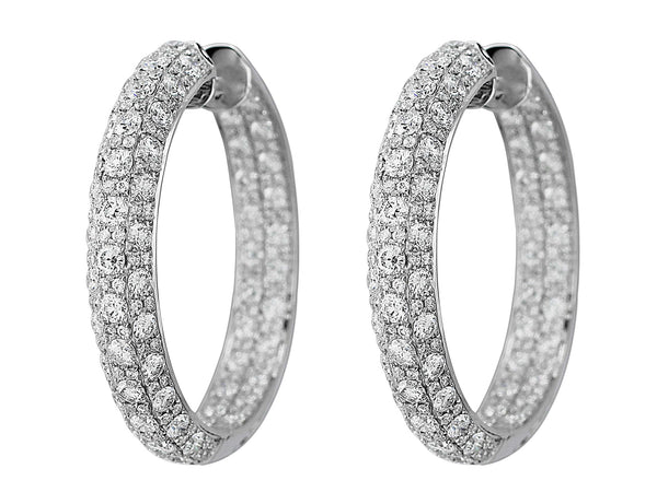 Diamond Scroll-set White Gold Hoop Earrings