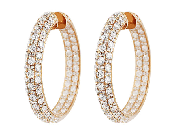 Diamond Set Rose Gold Hoop Earrings