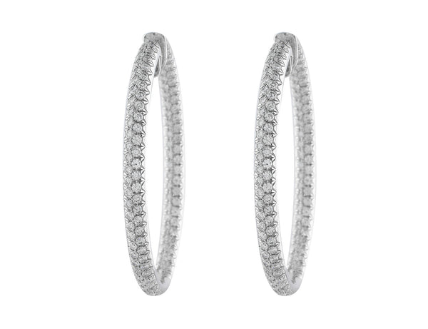 5ct Oval Hoop Diamond Earrings in 18k white gold
