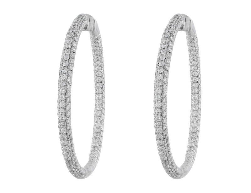 Large Three Row Diamond Hoop Earrings