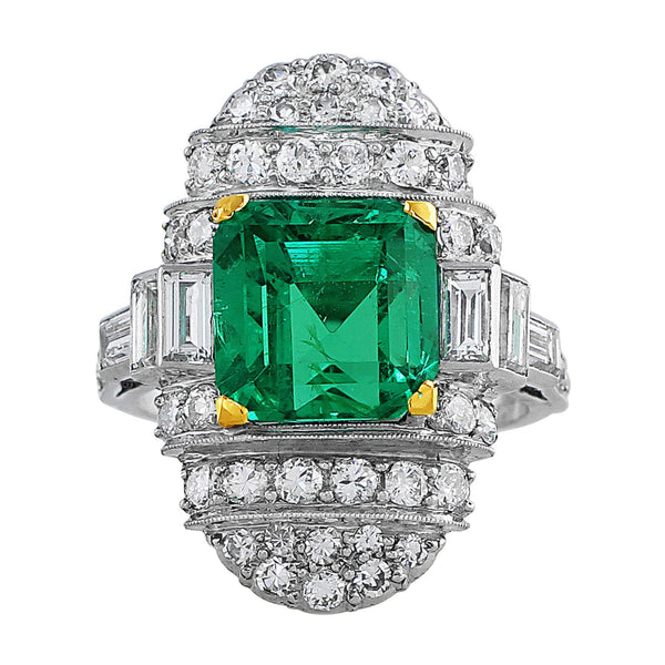 5ct Emerald Diamond Platinum Vintage Ring