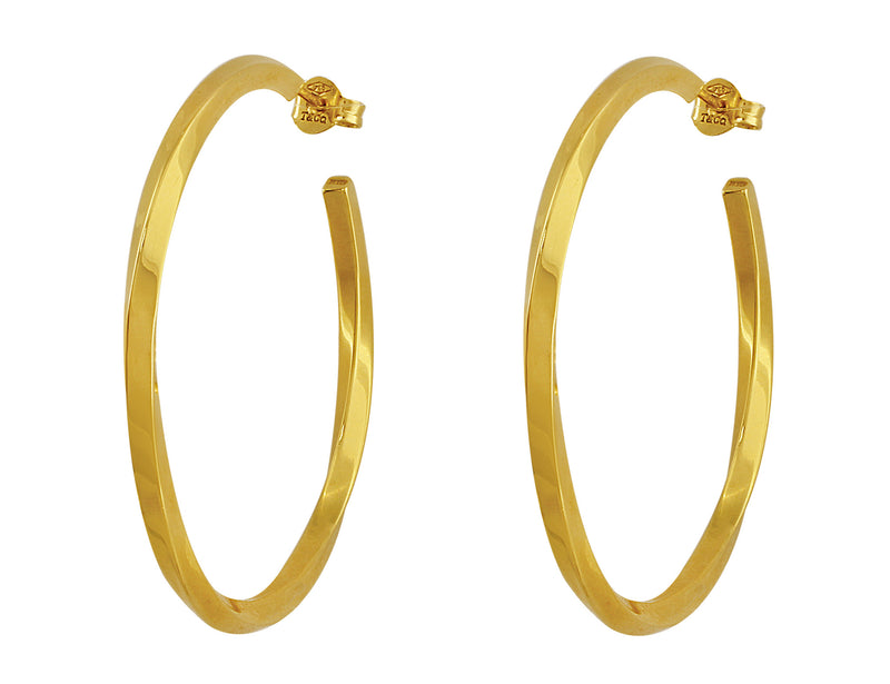 Estate Tiffany & Co. Yellow Gold Twist Hoop Earrings