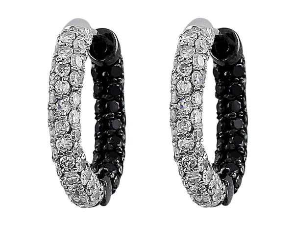 White and Black Diamond Hoop Earrings
