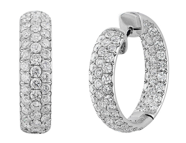 Pave Diamond Hoop Earrings with Hearts