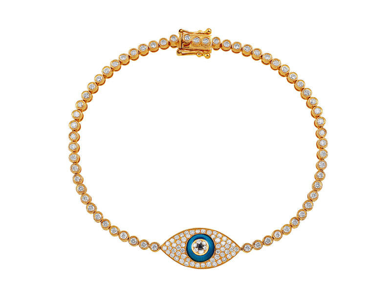 Rose Gold Diamond Evil Eye Bracelet