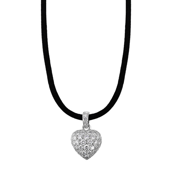 Estate Cartier Puff Heart Diamond Necklace