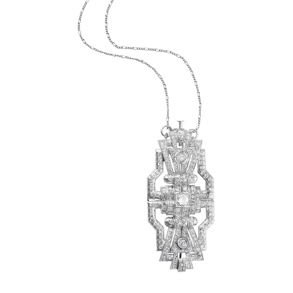 4ct Estate Diamond Convertible Brooch Necklace