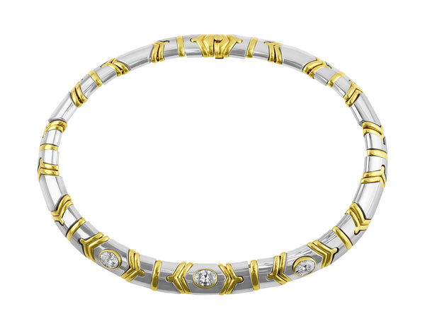 Estate Bulgari White and Yellow Gold Diamond Necklace