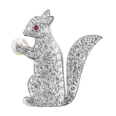 1960's Estate Diamond Platinum Squirrel Pin