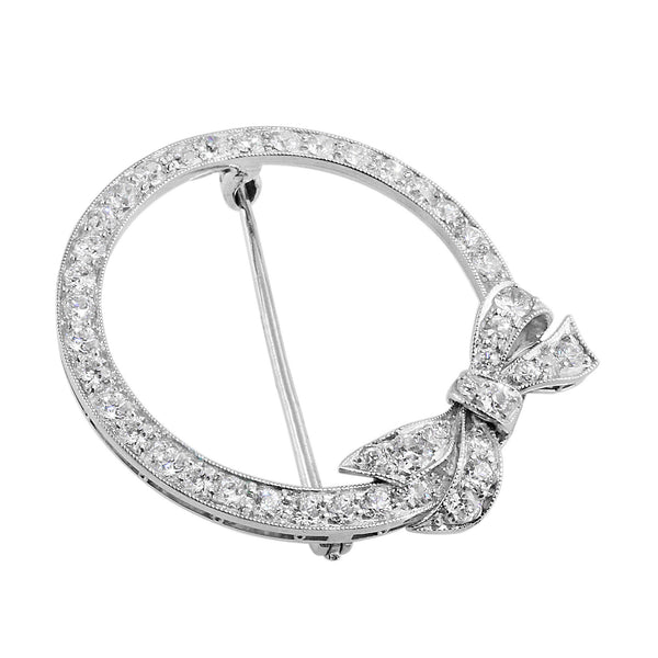 Estate Diamond Bow Round Brooch