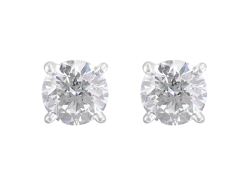 Estate Cartier 3ct Diamond Stud Earrings