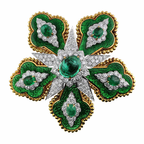 Estate David Webb Emerald Floral Brooch
