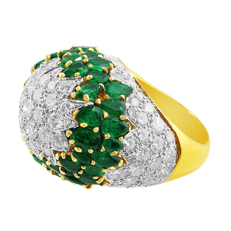 Estate Emerald and Diamond Cocktail Ring