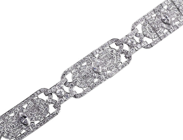 Estate Art Deco Platinum Marquise Bracelet
