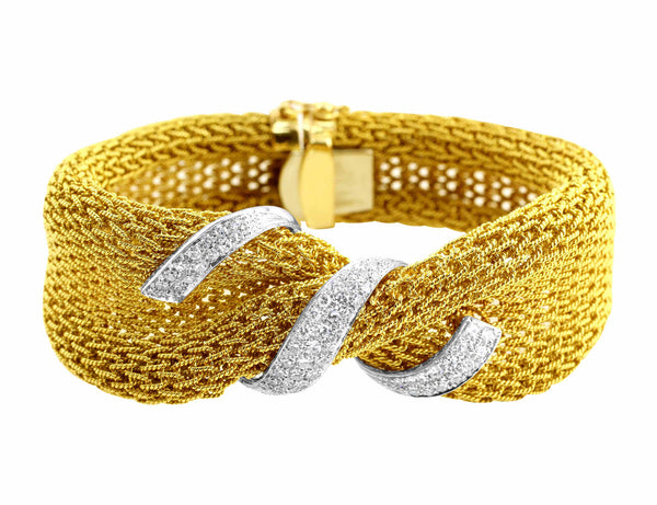 Estate Yellow Gold Mesh Diamond Bracelet