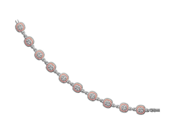 White and Pink Diamond Bracelet