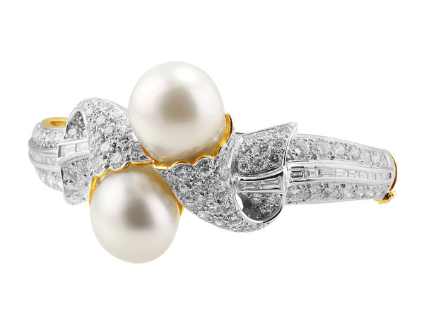 Bypass Pearl and Diamond Bangle Bracelet