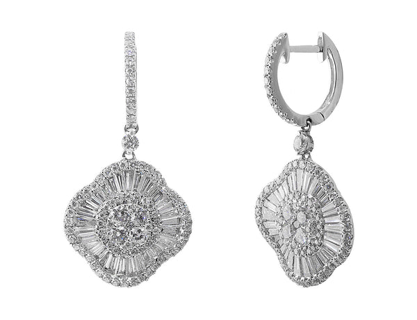 Ballerina Diamond Drop Earrings in 18k white gold