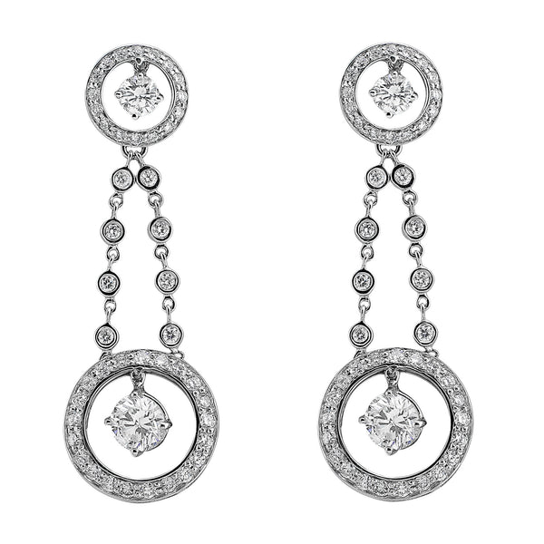 Circular Diamond Drop Earrings