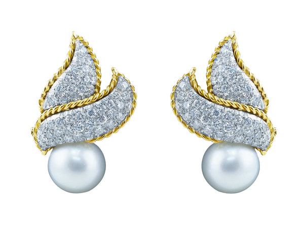 Estate Pearl and Pave Diamond Earrings