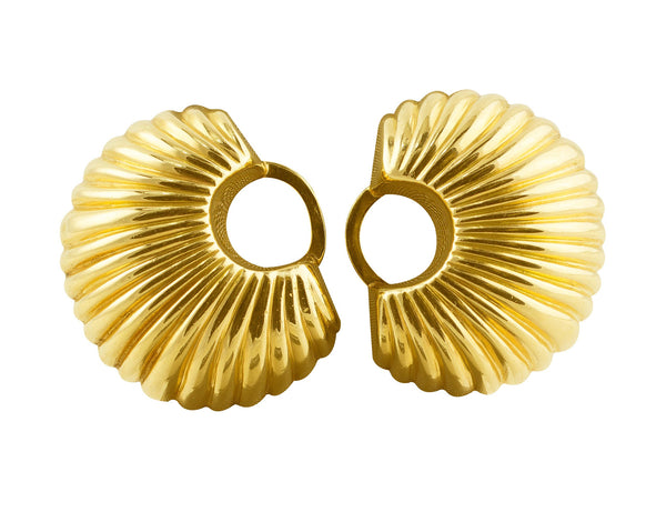 Estate Cartier Gold Fan Earrings