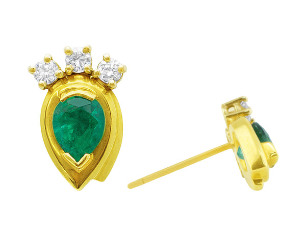 Estate Pear Shaped Emerald and Diamond Earrings