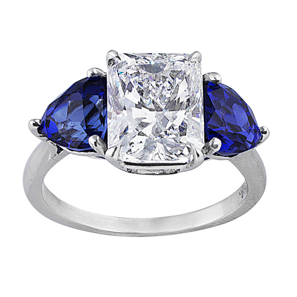 3ct Radiant Diamond Sapphire Platinum Ring