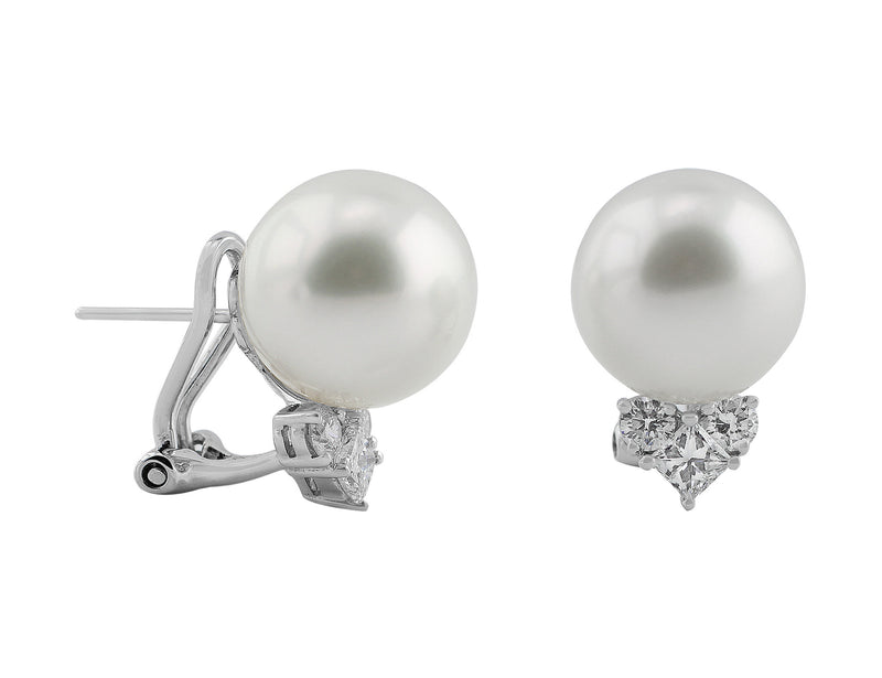 13mm South Sea Pearl Earrings with diamond accents