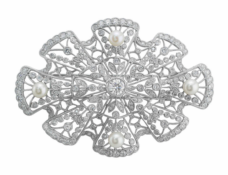 Estate Platinum Diamond Pearl Brooch